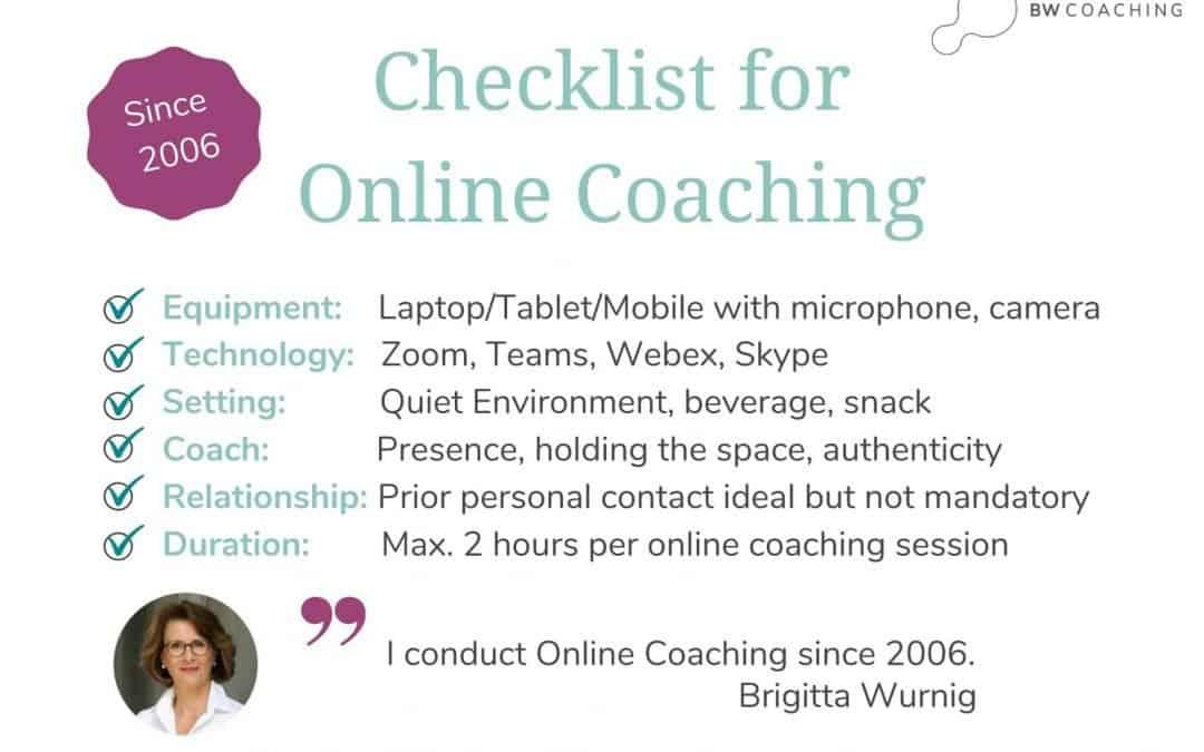 Checklist: Coaching online